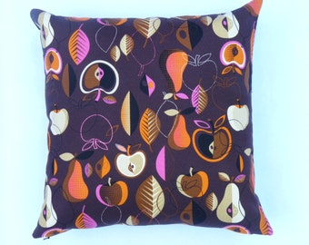 "Funky Fruit barkcloth repro - Mid-century Modern design accent pillow 17"" x 17"" feather/down insert included"