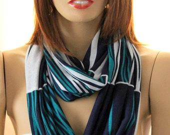 Navy blue, green, white  scarf. scarves, infinity scarf, loop scarves, circle scarf, woman scarves, women scarves, circle scarves,