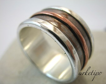 Wedding Band - Personalized sterling silver and copper Ring.. Handmade Ring sterling silver and copper.. Custom Ring..