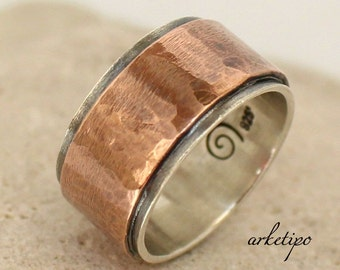 Personalized Wedding Band / Ring - Sterling Silver and Copper Ring. Hammered - Handmade Ring - Sterling Silver and Copper Band.. Custom Ring
