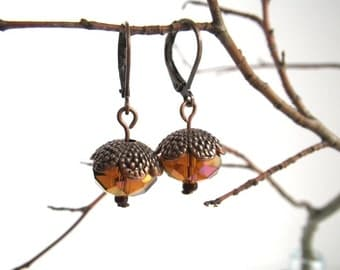 Cognac-acorns drop earrings dangle Autumn Wood
