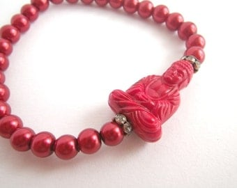 rotes Rot  - Buddhaarmband / elastisches Armband / Powerarmband / Glücksarmband