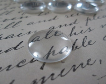 18mm Glass Cabochon,12 Pcs Clear Dome Cabochon,  Cameo Covers, Flat back Cabochon