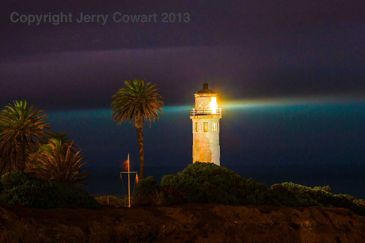 Light House Lighthouse At Night Point Vicente California Fine