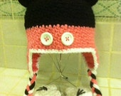 Crochet Minnie Mouse Earflap Cap 3-6 month