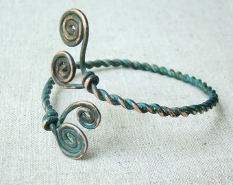 Cuff bracelet - blue copper jewelry