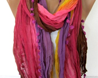 Multicolor Scarf -- Shawl Scarf -   Cowl Scarf bridesmaid gift- Women's fashion - Pompom Scarf