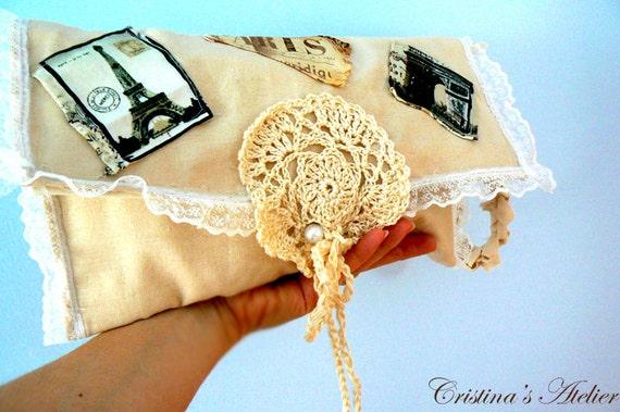 French print crochet clutch. Boho applique linen clutch. Handmade lace crochet purse. Chic crochet beige purse. Casual handbag.