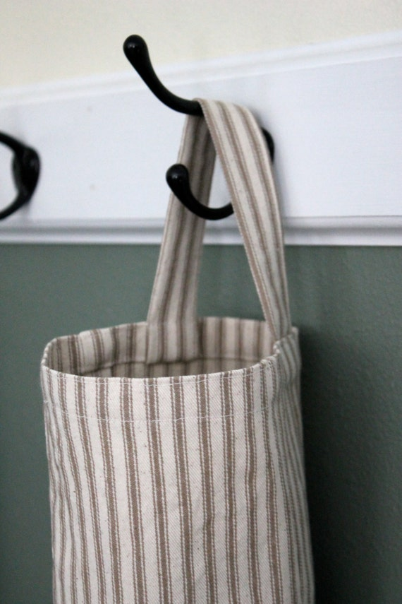 Grocery bag holder, plastic bag holder, bag organizer, kitchen bag holder, kitchen garbage bag organizer, housewarming gift, ticking  stripe