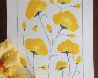 Original Watercolor Painting Yellow Flowers Dreamy Spring