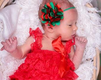 Christmas Puff Flower Headband Red and Green Flower Headband Newborn headband baby headbands teen headbands adult headbands