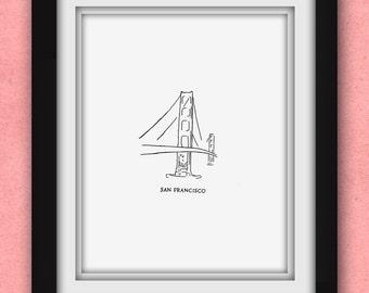 San Francisco Golden Gate Minimalist Print