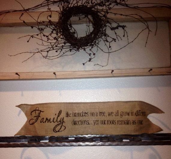 Primitive Jute Burlap Wired Ribbon Banner Wreath Wedding Family Country Garland