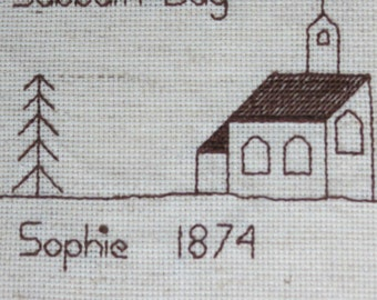 Cross Stitch Poem of A Young Lady's Commitment For Church