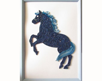 Wall Hanging Quilled Horse, Blue Horse Wall Art, Horse Quilling Picture, Year of the Blue Horse Picture, Paper Quilling Art