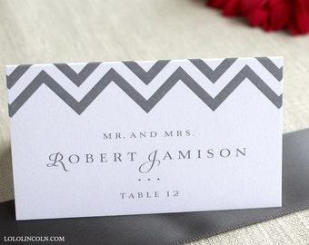 Chevron Wedding Place Cards SAMPLE