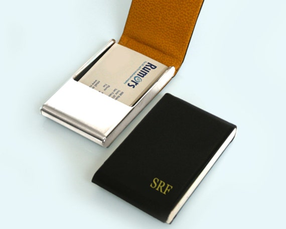 Leather Business Card Case Personalized Business Card Case