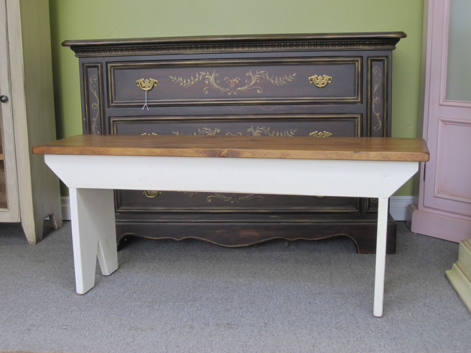 White Country Bench Cottage Bench Entry By