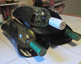 Vinyl Record Wine Rack / Bottle Holder Liquor Bar Eco-Friendly Functional Art Recycled / Upcycled Magazine Towel Holder LP