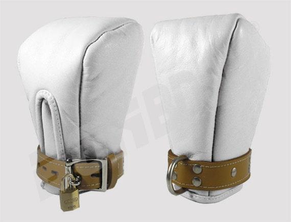 Bondage Padded Fist MITTENS Mitts Medical Leather  -  soft padded genuine leather, locking buckle, bdsm fetish restraints, Mature