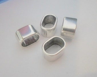 20 Silver Oval Spacers for Licorice Leather Bracelets in Antique Silver, Bulk,