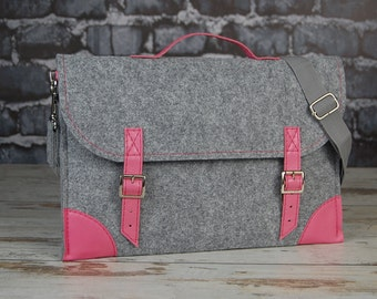 Macbook Pro 15 inch bag, Felt Laptop bag 15 inch with pocket , sleeve, Laptop case with belt shoulder