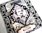 Edgar Allan Poe Blank Greeting Card - cream and black - Vampire Goth Beware