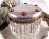 Antique STERLING POWDER JAR Garnet Cabochon Sterling Silver Cut Zipper Glass Vanity Powder Rouge Jar Pot