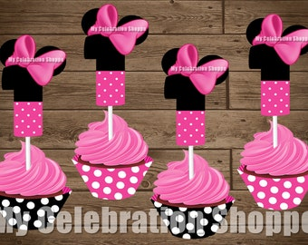 INSTANT DOWNLOAD Pink Minnie Mouse Cupcake Toppers and Wrappers - Age 1 ONLY - Birthday Decorations - My Celebration Shoppe - Diy Party