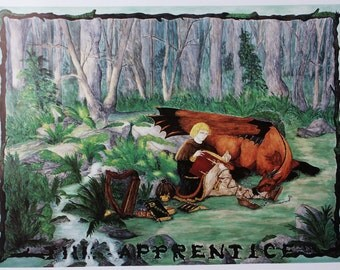 The Apprentice, Lithograph print of a Medieval dragon and boy, wizards, magic, woodland, apprentice