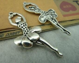 20pcs Antique Bronze / Antique Silver Ballerina Charms Pendants AC3872