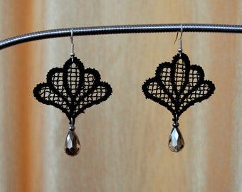Statement Black lace earrings with silver crystal,Lace earrings,Black lace earrings