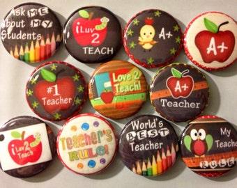 "Teacher Appreciation 1"" Flatback buttons, crafts"