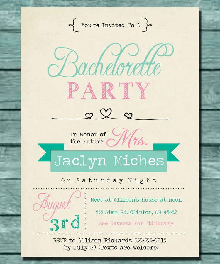 Cute Mint and Pink Bachelorette Party Invitation by BokehDotPrint – Birthday Itinerary Template