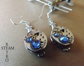 10% off sale17 Steampunk Silver Saphire Earrings - Steampunk Jewellery by Steamretro -personalized jewelry