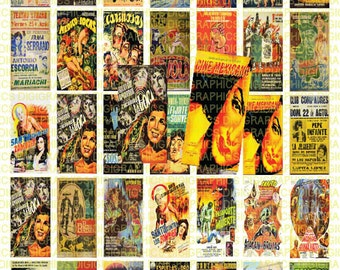Vintage Mexican Posters 1X2 Domino Sized print out digital sheet.