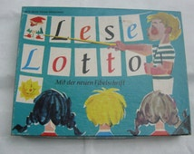1968: Lese Lotto (reading lottery). With the new primer font. Ravensburger No. 15.012. Made in Germany. Original edition. VINTAGE