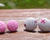 gray & pink dot cover button earring set