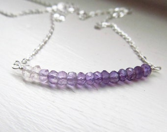 Amethyst ombre bar necklace purple lilac gradient silver rondelles