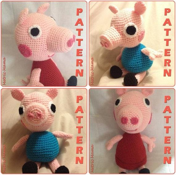 Peppa Pig Amigurumi Crochet : Peppa Pig 14 George Pig 10 Amigurumi Crochet
