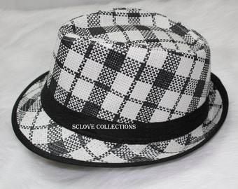 Luxury Hollywood Fashion Fedora Hat Trilby Panama Style White Black cross stripes