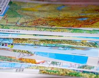 Vintage Map Scraps from Atlas Pages - Altered Art and Collages