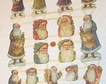 German Victorian Father Christmas Santa Claus faces figures die cuts diecuts scrap sheet collage card making embellishments trim ef 7304