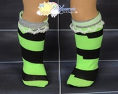 "Lime Green/Black Irregular Stripes White Lace Trim Doll Socks for 18"" American Girl dolls"