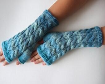 Handmade light blue ( multicolor ) fingerless gloves, wrist warmers, fingerless mittens. Knitted of 100 % wool.