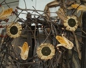 Primitive Sunflower Corncob Garland Harvest Thanksgiving Swag Rusty Wire Home Decor