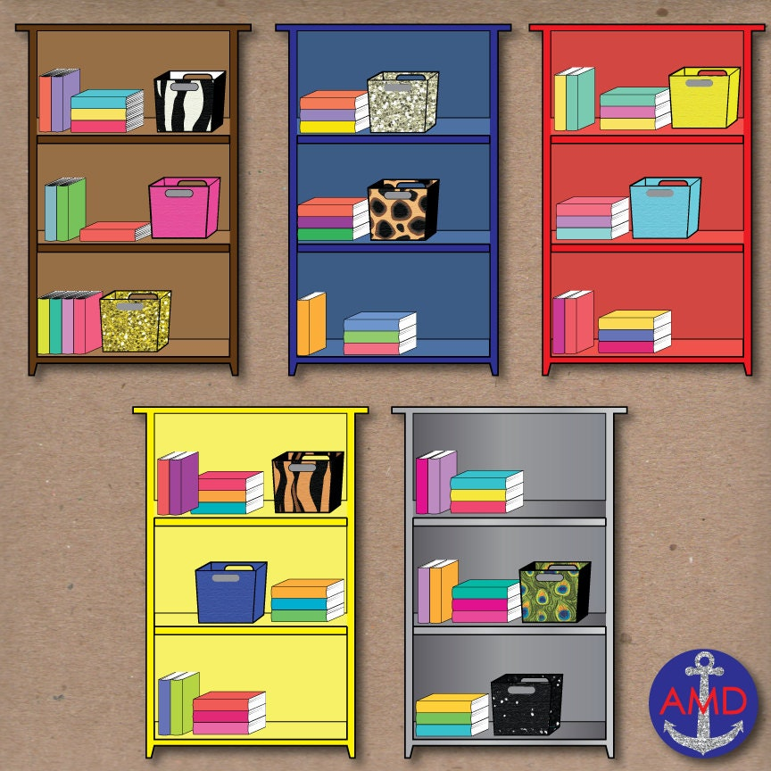 Bookshelves Clip Art ~ Colorful bookshelves classroom clip art with books