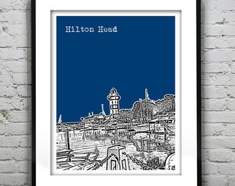 Hilton Head Island South Carolina Skyline Poster Art Print SC