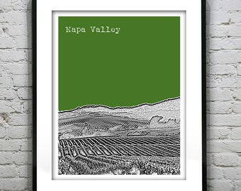 Napa Valley Poster Print Art California Skyline CA Wine Country