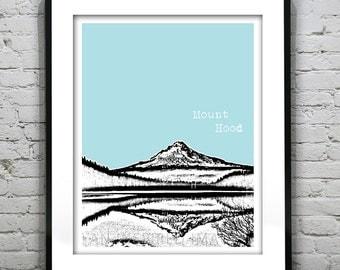 Mount Hood Oregon Skyline Poster Art Print